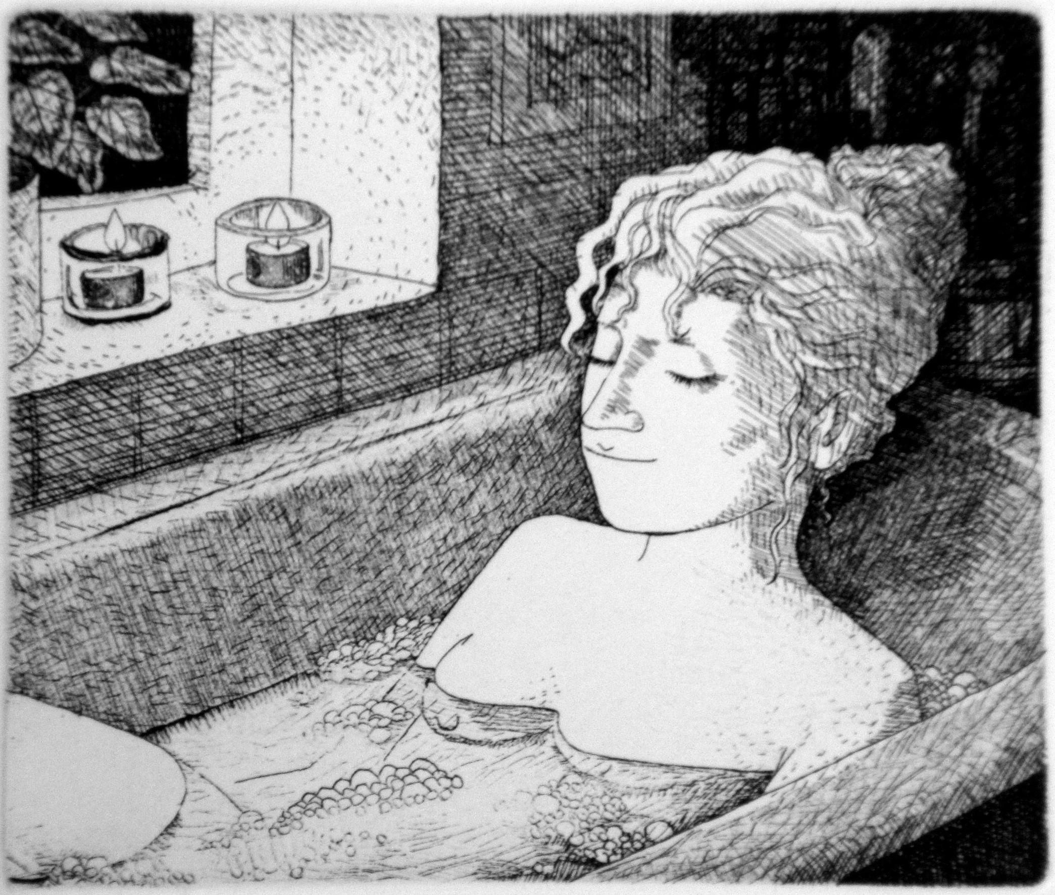 Bath, etching, 12x14 cm.