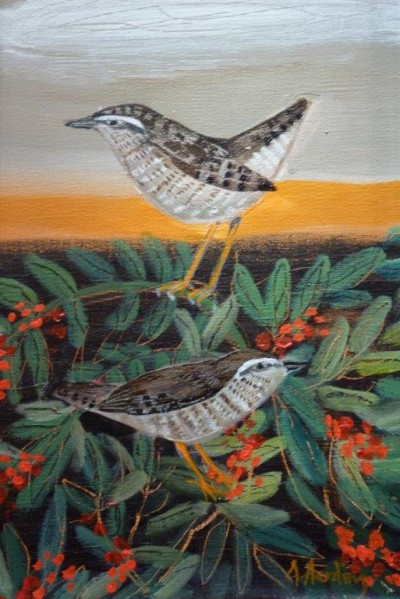 Wren and Berries SOLD