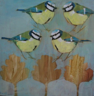 Four Blue Tits and Hawthorn