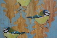 Three Blue Tits on Oak Leaves