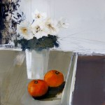 Pot of Flowers with Oranges