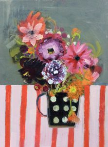 Dahlias in Spotted Mug