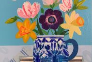 Spring Flowers in Blue and White Pot